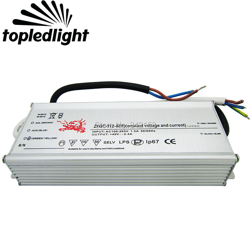 IP67 Waterproof Lighting Transformers 38-48V 2.4A 112W High Power Constant Current Led Driver For DIY Lamp Light Power Supply 90w led driver dc40v 2 7a high power led driver for flood light street light ip65 constant current drive power supply