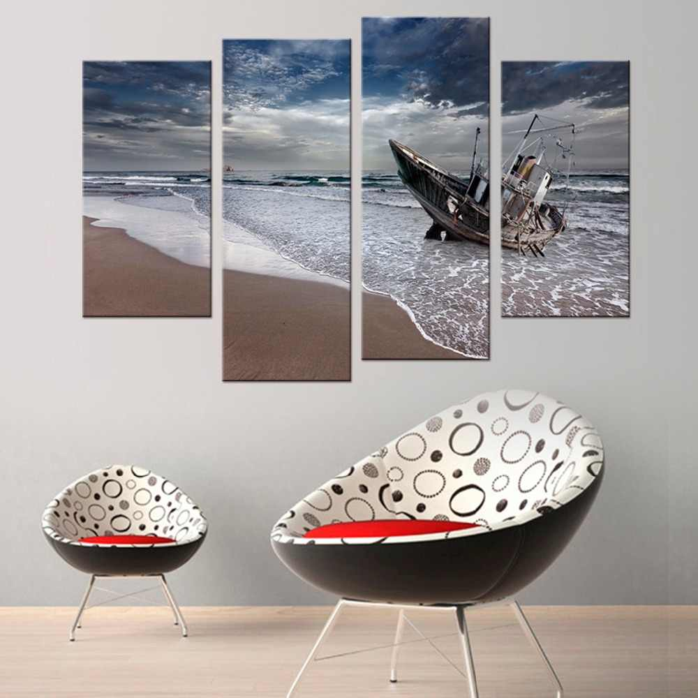 4 Pcs/Set  Sail Boat Canvas Arts Wall Pictures For Living Room Modern Poster and Printed Wall Canvas Art Home Decor