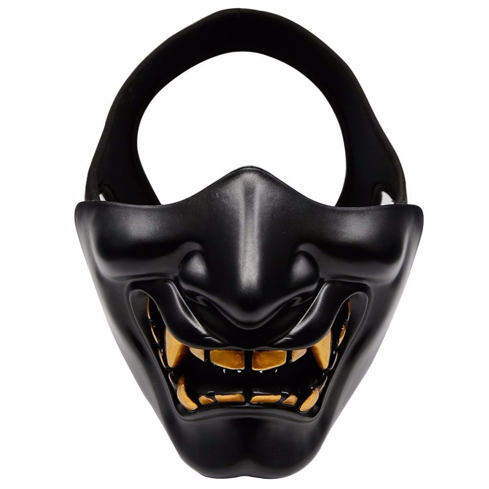Half Face Airsoft Mask Halloween Costume Cosplay BB Evil Demon Monster Kabuki Samurai Hannya Oni Half Cover  Prajna Masks la palmyre zoo
