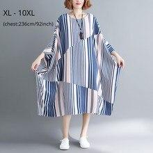 Fashion Womens Plus Size 10XL 9XL 8XL 7XL Striped Dress Batwing Sleeve Summer Autumn Loose Dresses Femme Casual Clothing