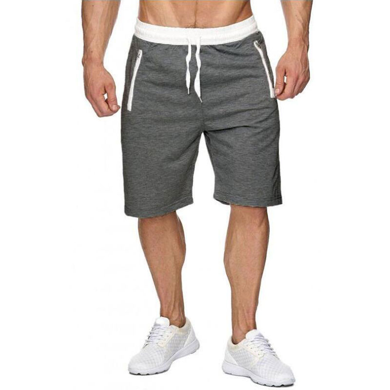 Men Shorts Sweatpants Zipper-Pockets Fitness Knee-Length Male Summer Casual with Men's