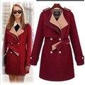 2017 Nueva moda mujer otoño abrigo y chaquetas de invierno de doble botonadura de lana gabardina larga delgada outwear abrigo grueso