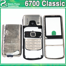 цена Rear New Metal 6700 Classic Battery Cover For Nokia 6700 Classic 6700C Front Middle Frame Full Housing Case +Keypad no Flah онлайн в 2017 году