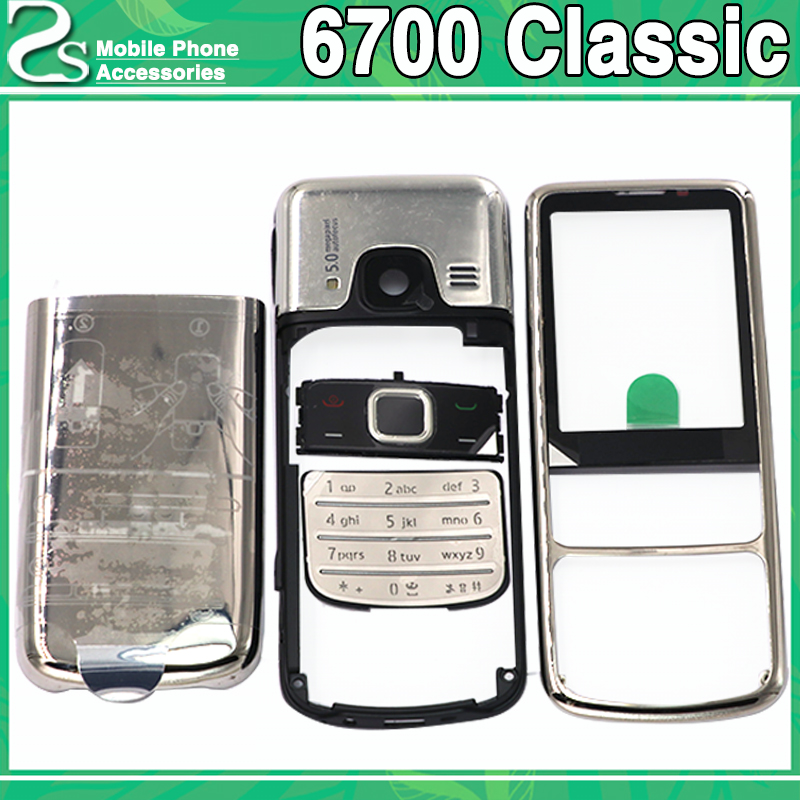 Rear New Metal <font><b>6700</b></font> Classic Battery Cover For <font><b>Nokia</b></font> <font><b>6700</b></font> Classic 6700C Front Middle Frame Full <font><b>Housing</b></font> Case +Keypad no Flah image