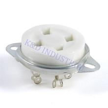 10pcs 4Pin Sliver Bottom mounted valve Ceramic Tube Socket  for 2A3 300B U4A amp parts