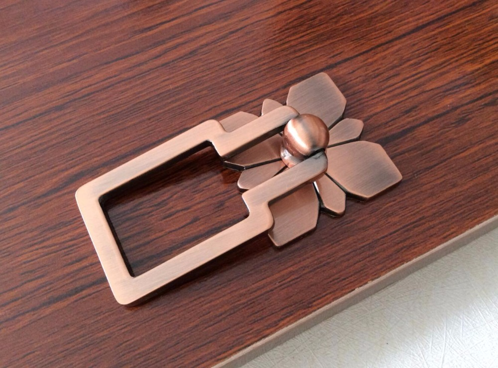 Red Copper Drop Ring Dresser Knobs Drawer Pull Handles ...