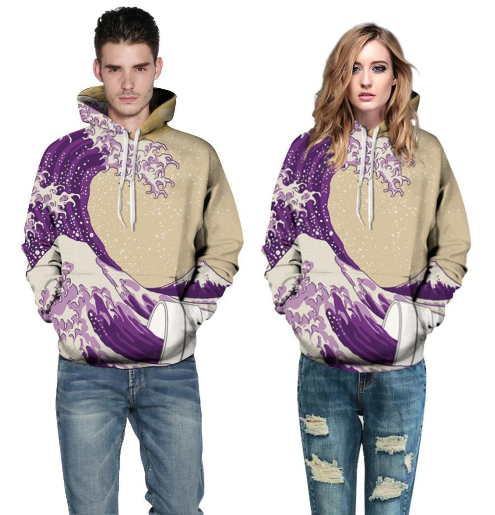 Women Purple Waves Printed Sportsuit 2017 Men Autumn Long Sleeve Drawstrings Hooded Sweatshirt Plus Size Couples Lovers Hoodies