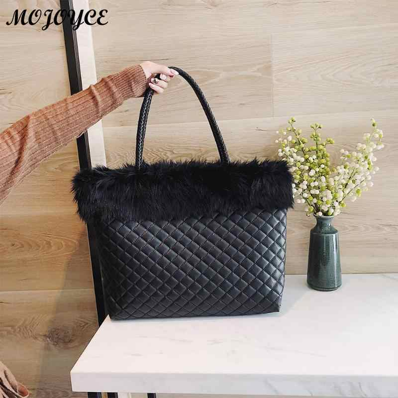 Elegant Fur Plaid Leather Handbags Winter Shoulder Bag Women Large Capacity  Totes Bags 2018 New Design 38cfd0def1850