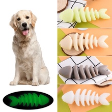 Pet Toy Luminous Cartoon Fish Bone  Designed Training Toys For Small Dogs Soft Durable Rubber Dog Chew Lovely D40