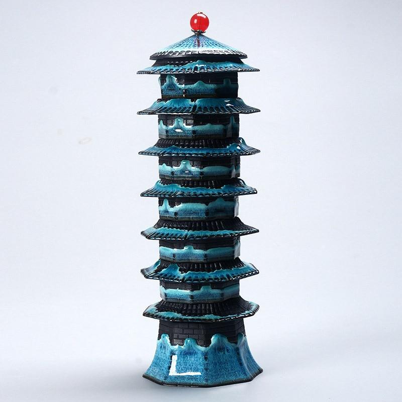 2019 most unique design Tea set Eight treasure tower travel tea set temmoku glaze Porcelain Brand