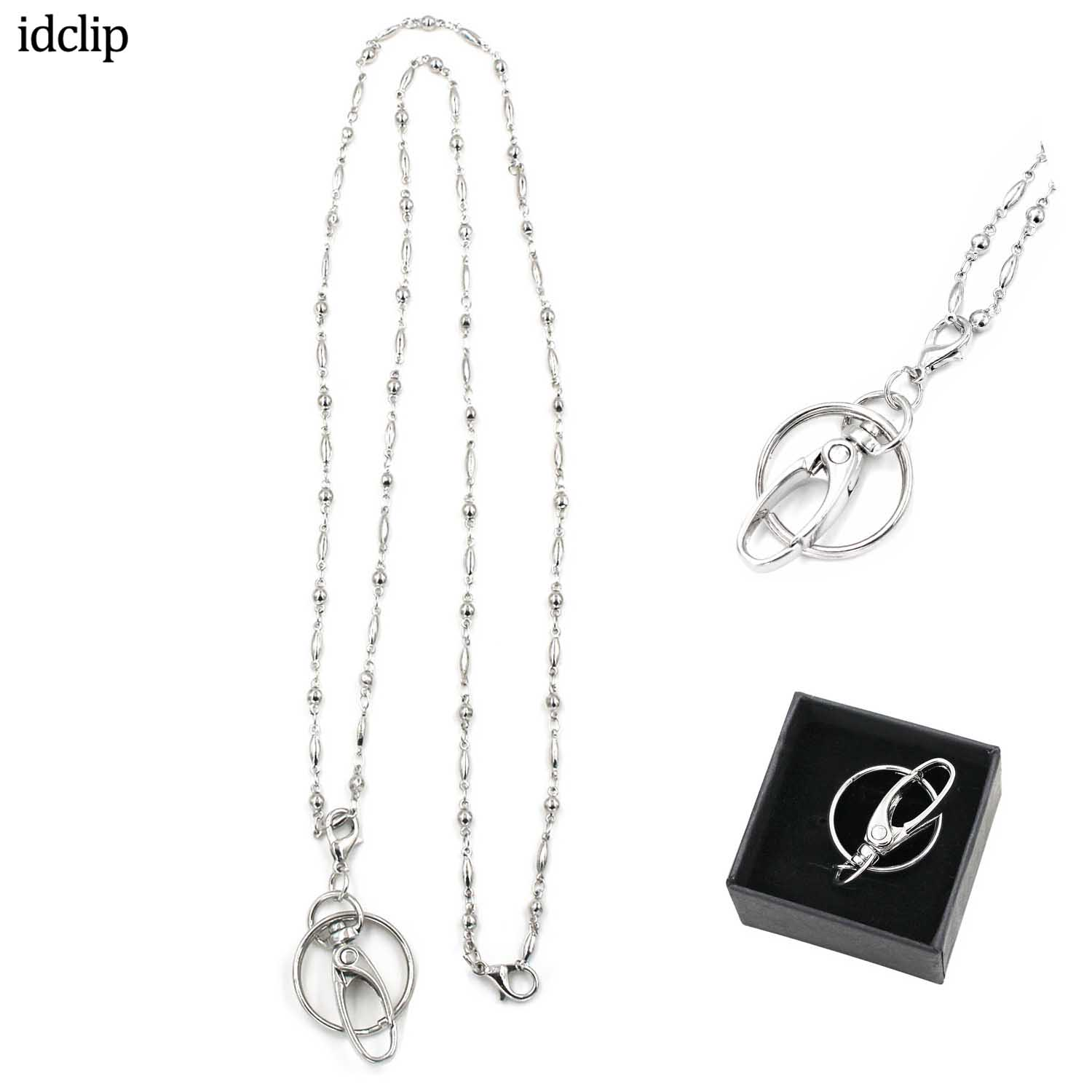 Idclip Badge Holder Lanyard ID Holder For Women Fashion Cruise Lanyard Stainless Steel Necklace Water Resistant Id Card Clip