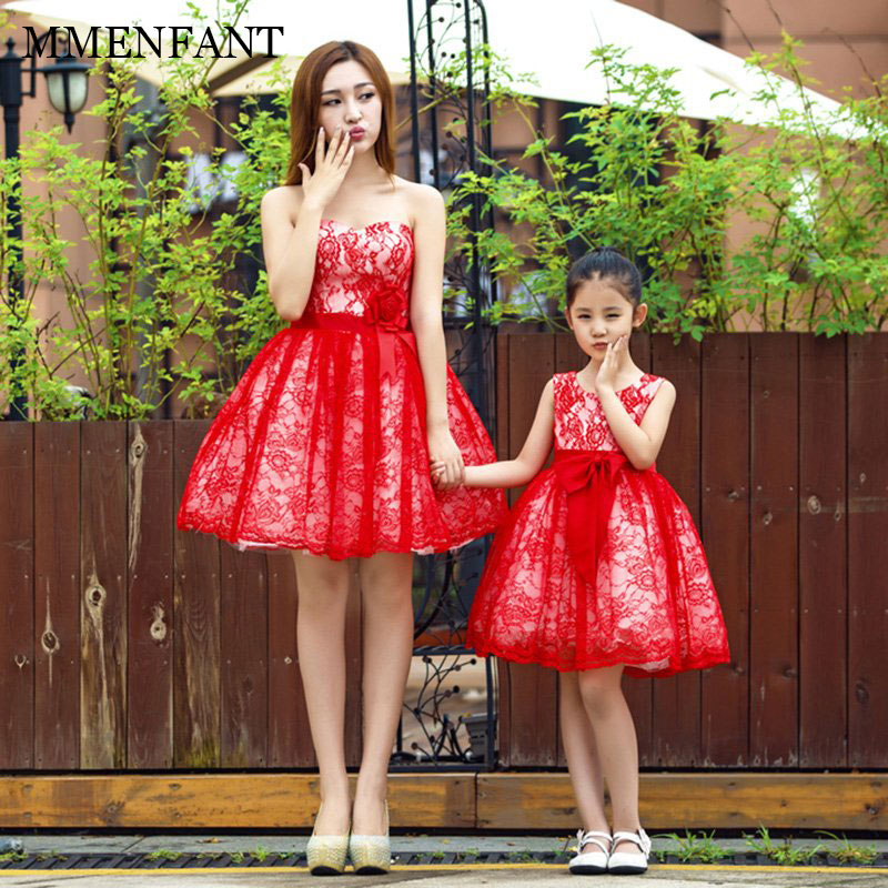 Mother Daughter Dresses 2018 Summer Mom and Daughter Dress Family Matching Outfits sleeveless red lace Dress for Kids and Women 2017 summer children clothing mother and daughter clothes xl xxl lady women infant kids mom girls family matching casual pajamas