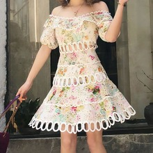Sexy off shoulder hollow out dress New 2019 summer floral print beach style A059