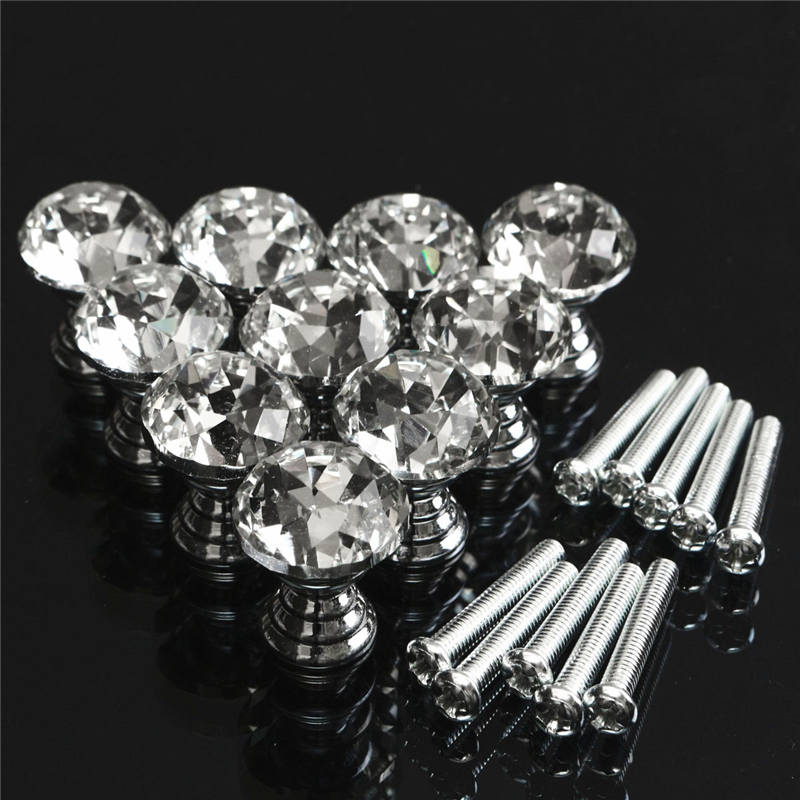 MTGATHER 10 Pcs 20mm Crystal Glass Clear Cabinet Knob Drawer Pull Handle Kitchen Door Wardrobe Hardware Crystal+Zinc Alloy mtgather 8pcs 40mm clear crystal glass diamond cut door knobs kitchen cabinet drawer knobs screw home decorating
