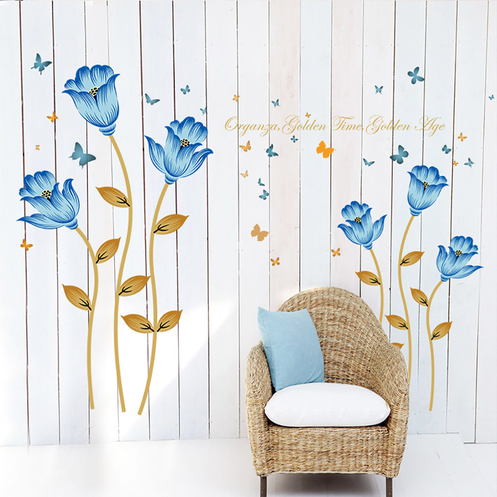Butterfly blue flower wall sticker removable decals art - Removable wall stickers living room ...