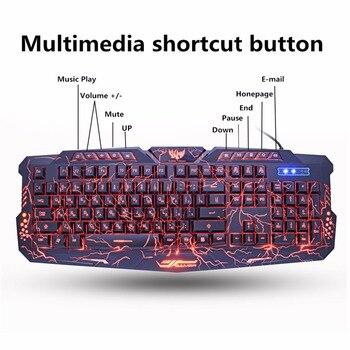 M200 Russische Gaming Toetsenbord Paars/Blauw/Rood Led Ademhaling Backlight Usb Wired Full Sleutel Muis Toetsenbord Combo Professionele gamer