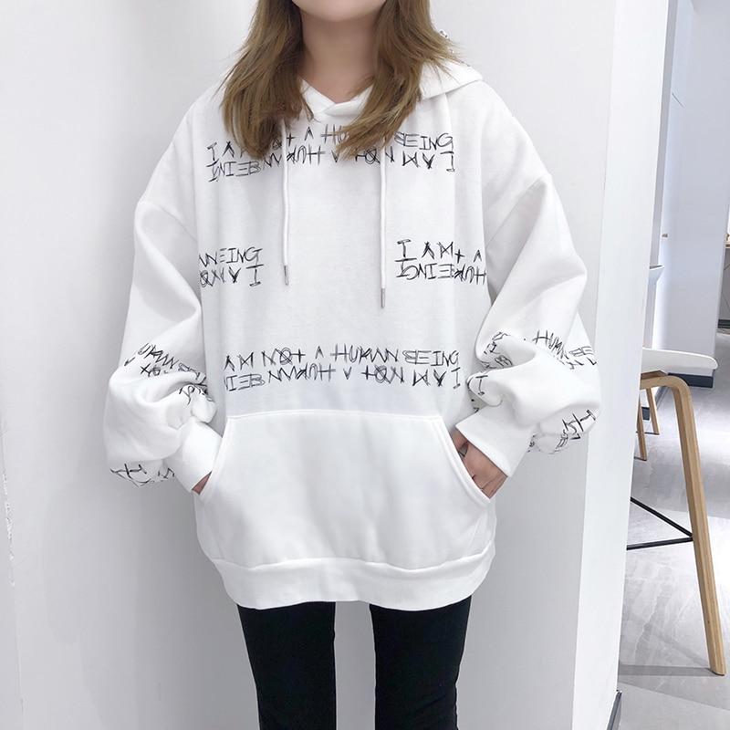 Ulzzang winter women s sweatshirt Harajuku letter printing hooded sweatshirt bf long sleeved loose Pullovers sweatshirt