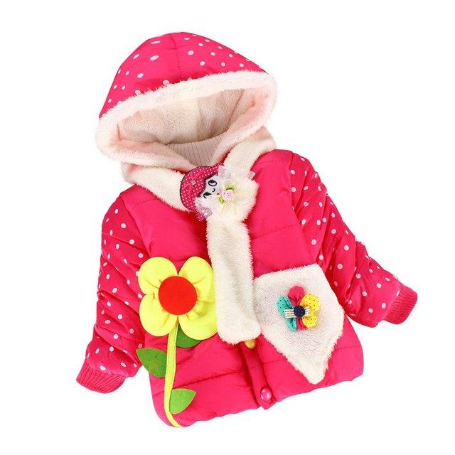 As Meninas da criança Espessamento Roupas Roupa Dos Miúdos Do Bebê Da Menina Casacos de Inverno Com Capuz Jaqueta Flor Outerwear Jaquetas