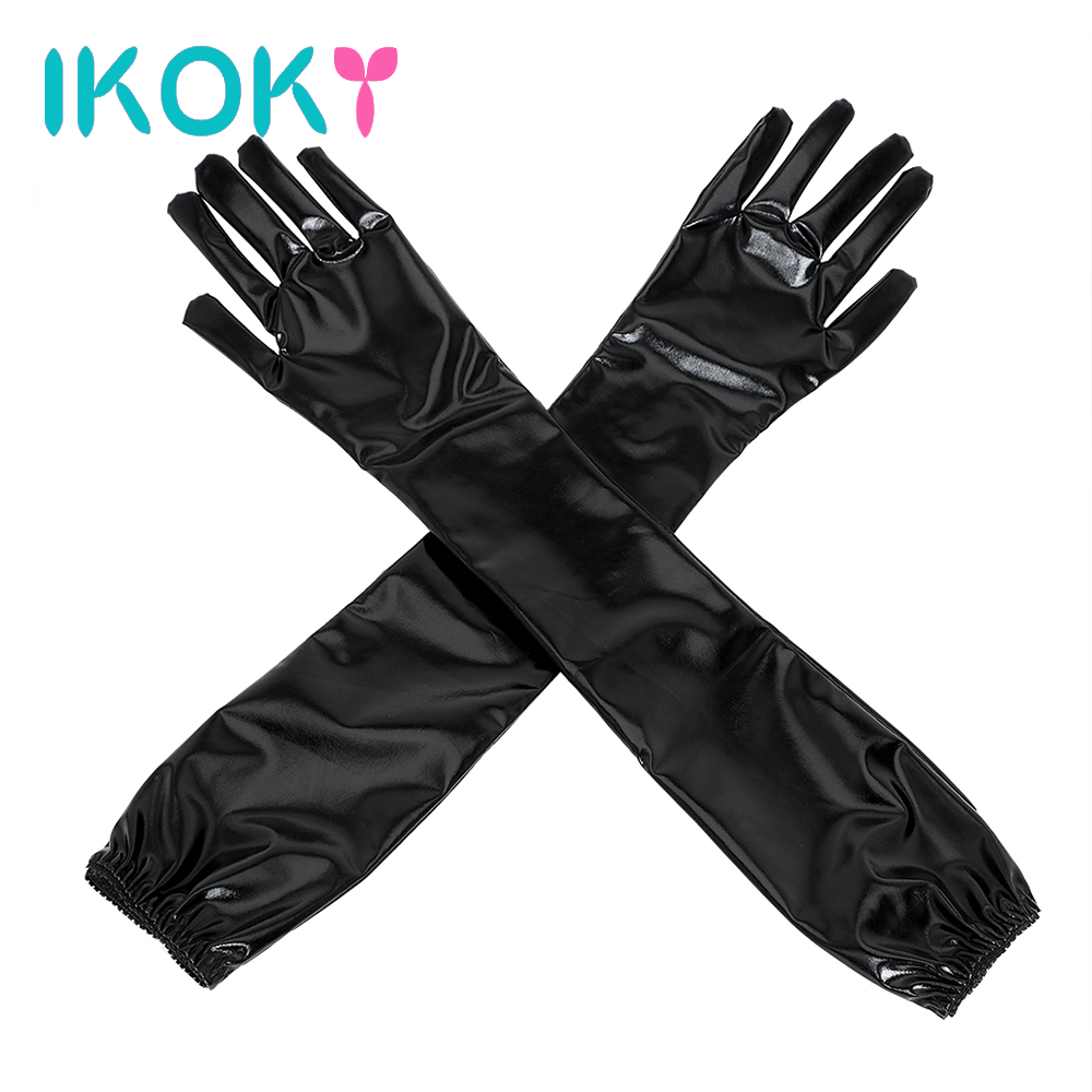IKOKY Sex Glove Erotic Toys SM Bondage Sex Toys for Couple Long Black Sexy Arm Sleeve For Party Cosplay Adult Games