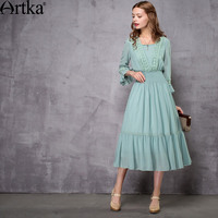 Artka Women S 2017 Spring New Vintage Appliques Dress Fashion Stand Collar Butterfly Sleeve Empire Waist