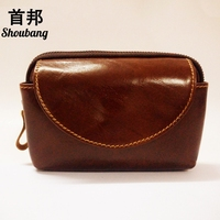 SHOUBANG New Oil Wax Genuine Leather Men Wallet Vertical Cover Coin Purses Small Mobile Phone Bag