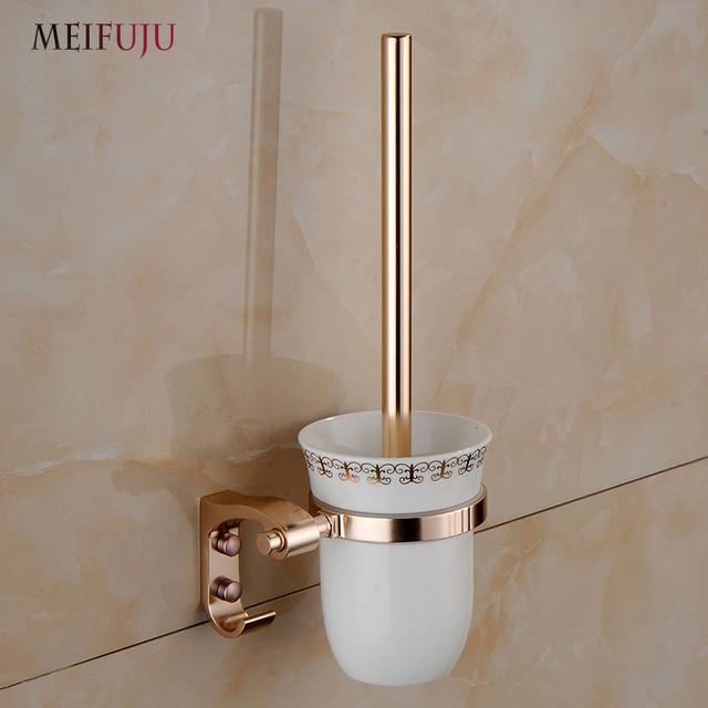 MEIFUJU Fasion Gold White CHAMPAGNE Rose Color Toilet Brush Holder With Ceramic