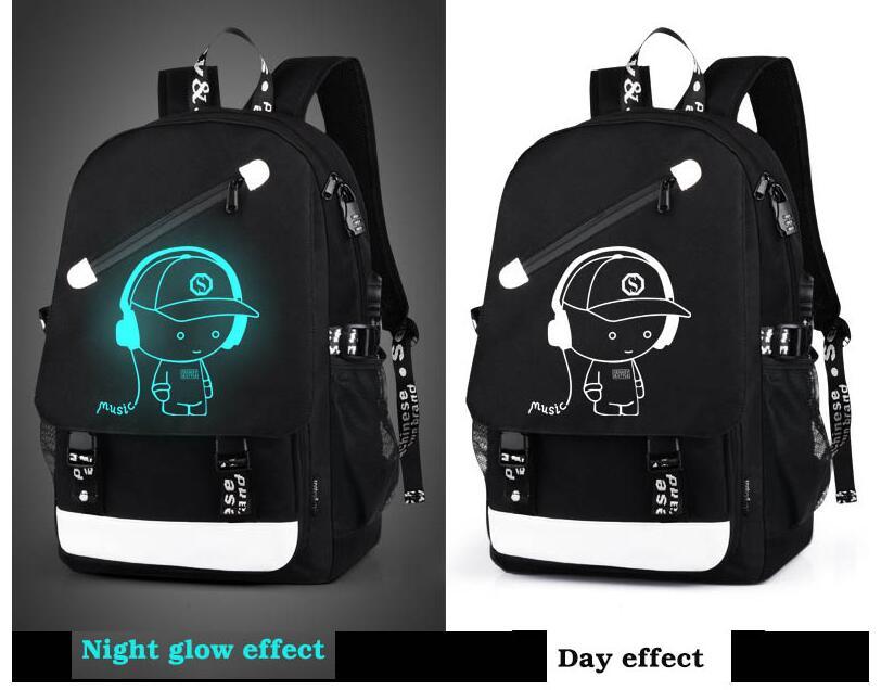 estudante animação luminosa carga usb sacos de