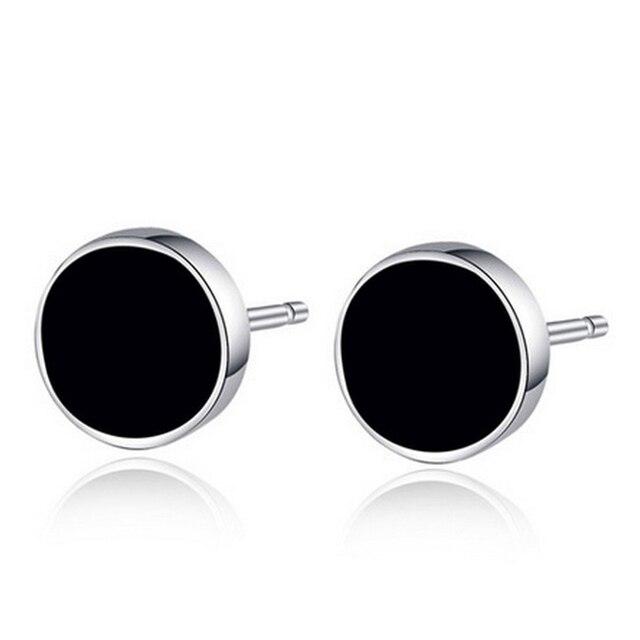 8mm Black Round Men Earring White Gold Color Epoxy Circle Star Brincos De Prata Silver Clic