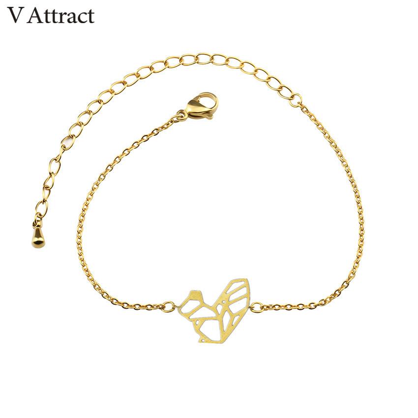 V Attract 10 Pcs Fashoin Lovely Animal Charm Origami Squirrel Bracelet Jewelry Gold Silver Link Chain Pulseira Christmas Gift In Bracelets From