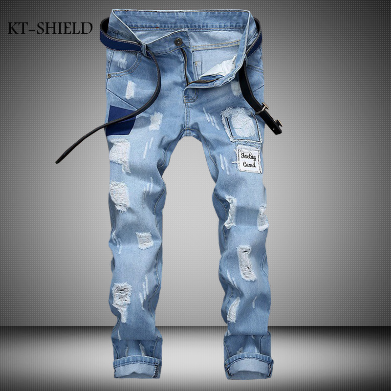 Fashion Brand Men Motorcycle Jeans Luxury Mens Denim full length Casual Trousers Zipper Slim Biker Ripped vaqueros hombre 2017 fashion patch jeans men slim straight denim jeans ripped trousers new famous brand biker jeans logo mens zipper jeans 604