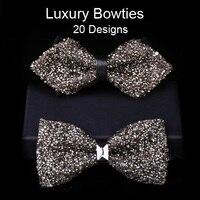 Artesanal de luxo Strass Bowtie Bling Bling Da Borboleta de Cristal de Diamante Arco Laços para Festa de Casamento Show de Host (20 Cores)