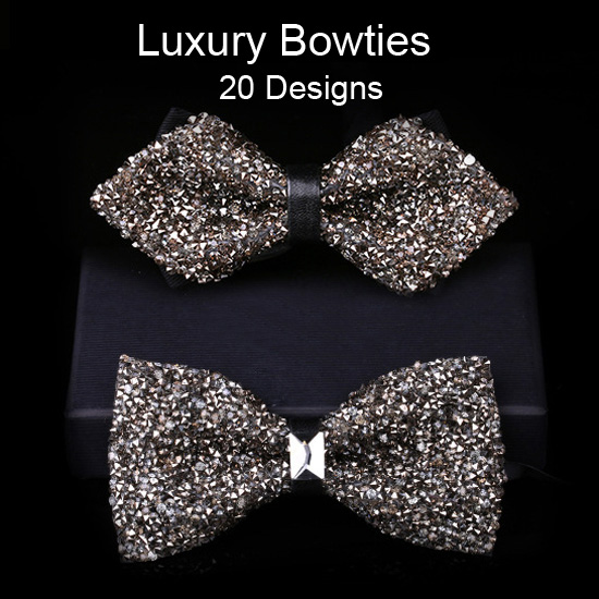 Luxury Handmade Rhinestone Bowtie Bling Bling Crystal Butterfly Diamond Bow Ties for Wedding Party Show Host (20 Colors)