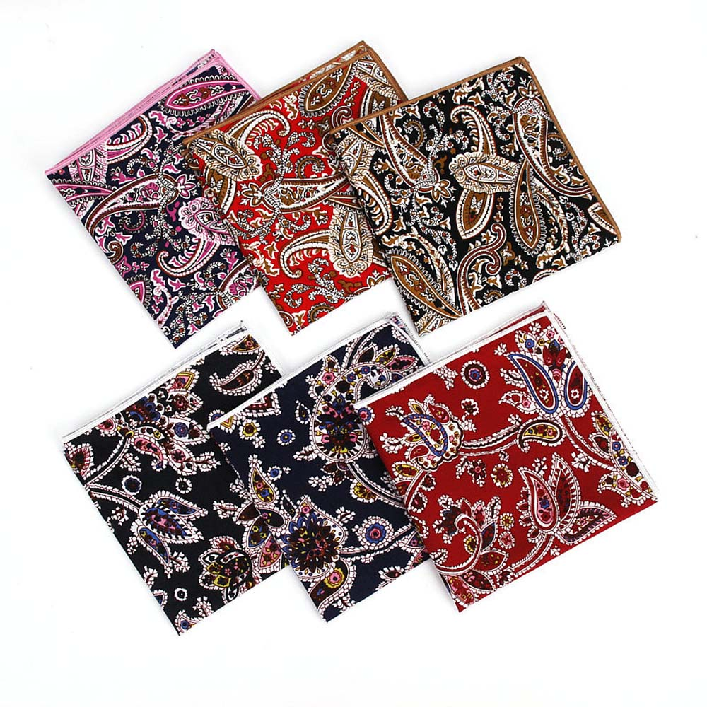 Men Tuxedo Paisley Flower Handkerchief Hanky Wedding Business Pocket Square BWTYF0220