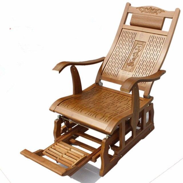 US $189.05 5% di SCONTO|Bambù moderna Sedia A Dondolo Adulto Glider Rocker  di Bambù Naturale Mobili Indoor Soggiorno Poltrona Poltrone per Anziani in  ...