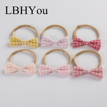 Fashion Linen Hand Tie Nylon Headbands,Super Soft Girls Head Wraps,Newborn Baby Cotton Bows Headwraps Hair Accessory