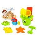 9 unids/set Nuevos grandes juguetes de playa cubo con dragado de arena juguetes de los niños