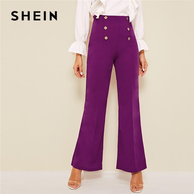 SHEIN Purple Double Button Seam Front Flare Pants Women Vintage Elegant High Waist Pants Zipper Fly Solid Spring Summer Pants