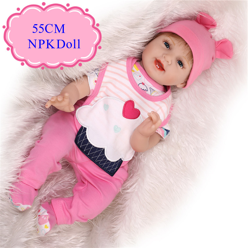 Happy Smile 55cm 22inch Bebe Reborn Dolls For Sale With Pink Soft 22'' Baby Doll Clothes High Quality Baby Alive Boneca  Meninas navy monkey with smile