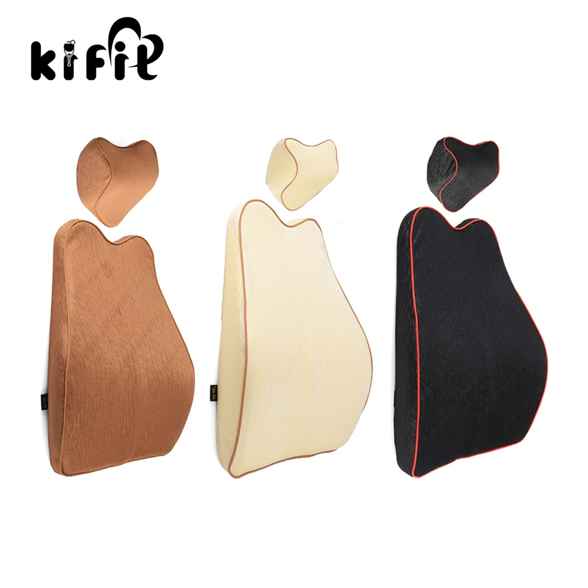 KIFIT Car Seat Memory Foam Head Neck Pillow Lumbar Back Support Cushion Chair Health Massage Care Tool gel memory pillow for summer health care neck pillow upgrade massage slow rebound memory foam cool breathable comfortable