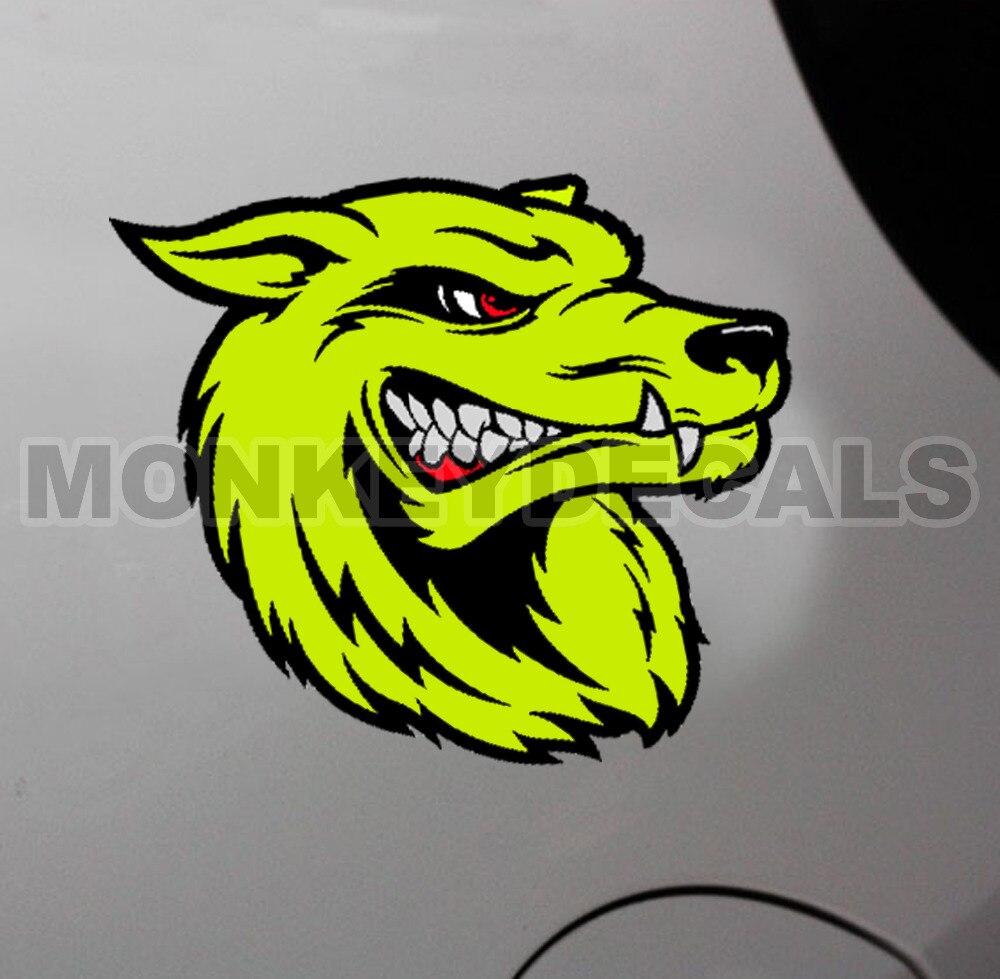 Prix pour Voiture vinyle multicouche decal autocollant en colère loup tête néon jaune 12 cm x 13 cm étanche autocollants pour voitures moto camion bateau
