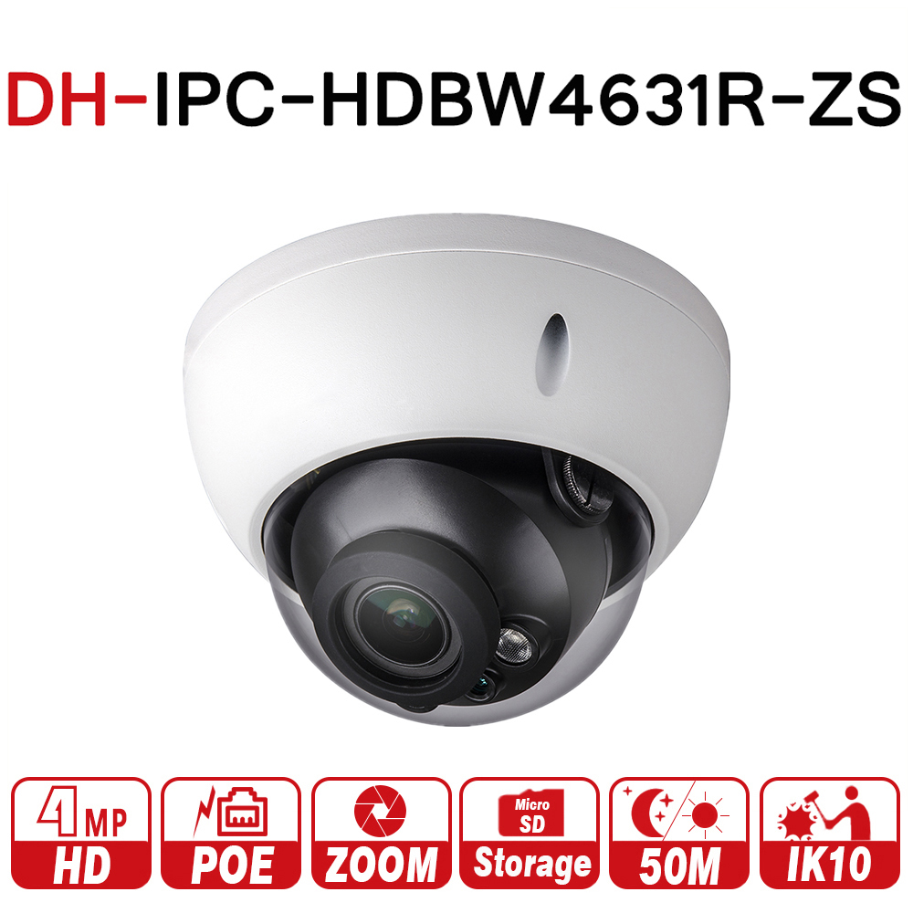 DH IPC-HDBW4631R-ZS 6MP IP Camera CCTV POE Motorized Focus Zoom 50M IR SD card slot Network Camera H.265 IK10 with logo dahua h 265 ip camera ipc hdbw4631r s replace ipc hdbw4431r s 6mp poe cctv camera 30m ir 1080p network camera onvif sd card slot