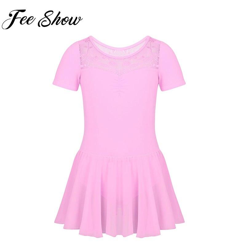 Kids Girls Short Sleeves Floral Lace Splice Ballet Dance Gymnastics Leotard Chiffon Dress Girls Ballet Dancewear Clothes