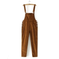 2017 Spring Womens Suspenders Corduroy   Jumpsuit   Autumn Loose overalls Women Pure Color Rompers pants for Female 120604