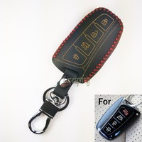 4Button Leather Car Smart Key Case Cover Skin FIT FOR 2013 2014 2015 HYUNDAI SANTA FE