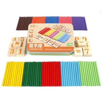цена Math Toys Montessori Educational Wooden Toys for Children Baby Counting Stick Arithmetic Teaching Aid for Kids онлайн в 2017 году