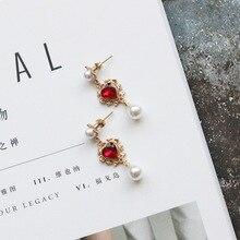 цена на pearl pendant heart-shaped Zircon Earrings maid fashion ear clip ear accessories