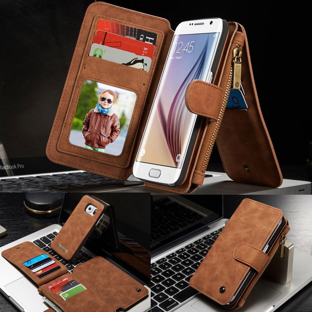 imágenes para Dos en Uno Cuero de LA PU Magnética para Samsung Galaxy S6 borde/S6 caso Bolsos Del Teléfono cubierta de la carpeta Del Tirón Del soporte Multi-funcional