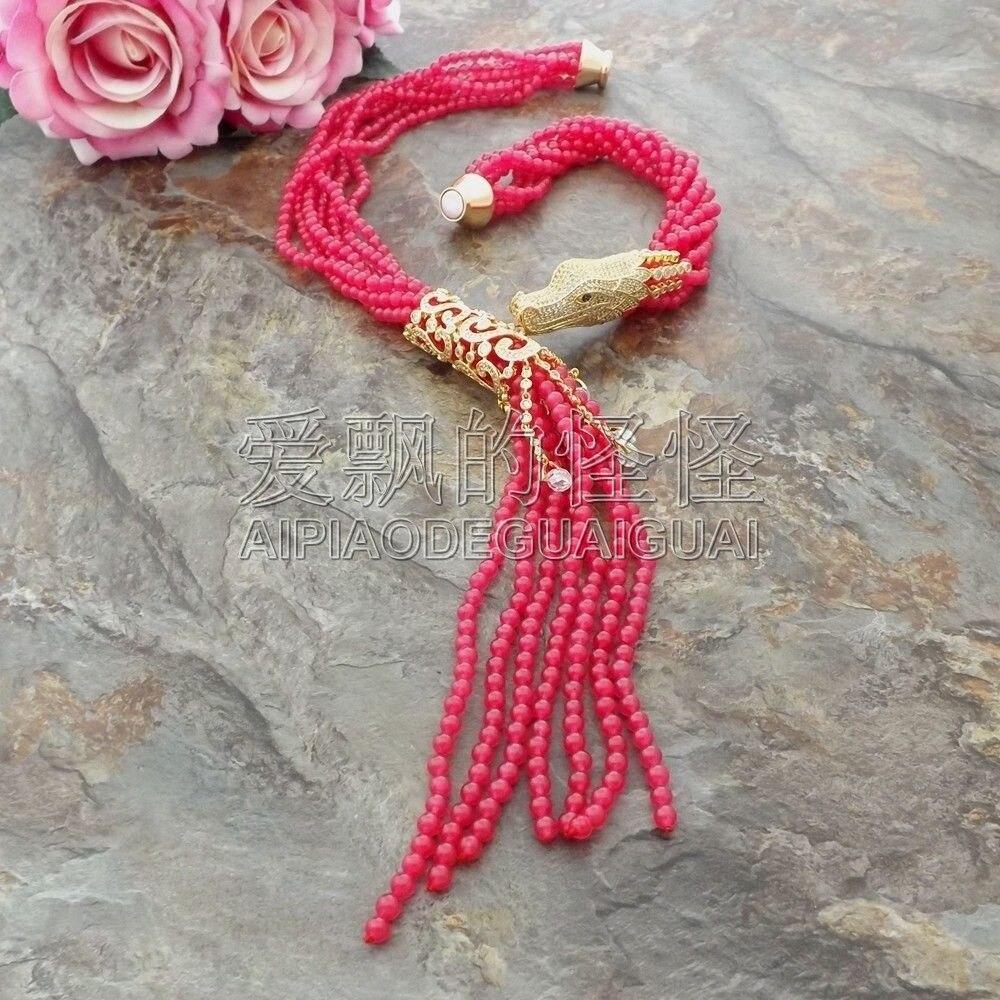 N091204 collier pendentif 7 brins 18 ''pierre rouge Dragon CZ - 3