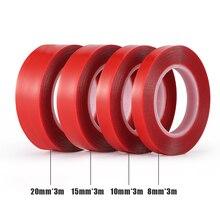 3m Rood Dubbelzijdige Plakband Hoge Sterkte Acryl Gel Transparante Geen Sporen Sticker Voor Auto Auto Interieur Vaste