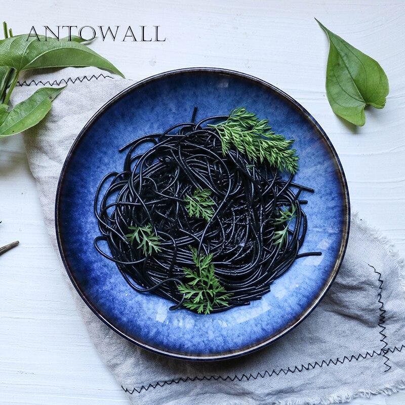 ANTOWALL Style européen bleu profond en céramique assiette à dîner 9 pouces nouilles soupe salade grand plat profond bol